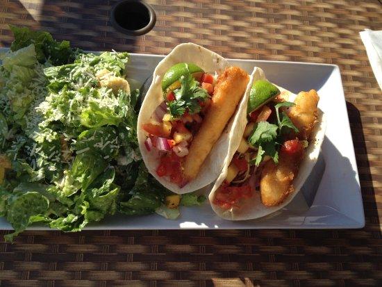 River City Pub & Patio: Fish Tacos with tangy mango salsa. Yum!