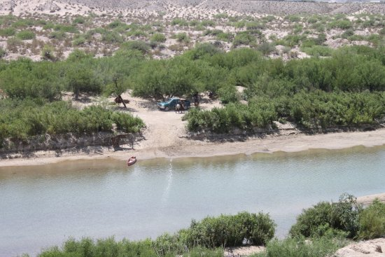 Alpine, TX: Mexican village across the Rio Grande, taken from Boquillas Canyon Overlook