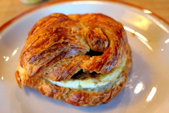 Niedlov's Breadworks: Sausage, egg and croissant breakfast sandwich