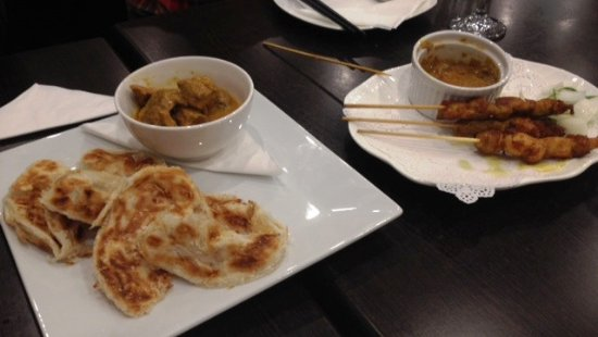 Roti canai with beef rendang satay chicken picture of for Roti food bar