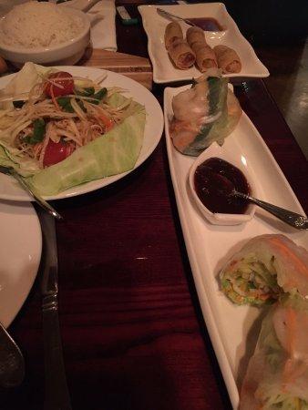 Basil Thai Restaurant: Papaya salad and fresh rolls.