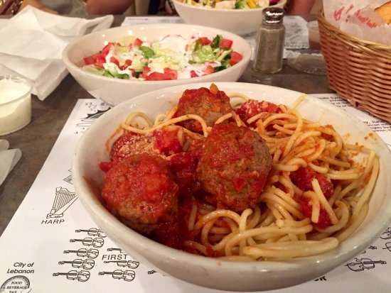 Lebanon, IN: This is the spaghetti and meatballs dinner, it comes with a basket of delicious bread and a side