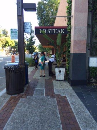 LB Steak: In front of the restaurant