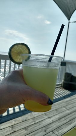 Coastal Cantina : Mango Lime Margarita overlooking the sound.