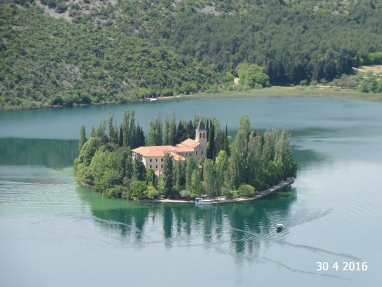Visovac Monastery : The island seen from the elevated viewpoint