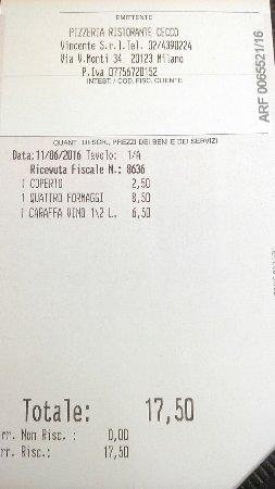 Ristorante Pizzeria Cecco: счет