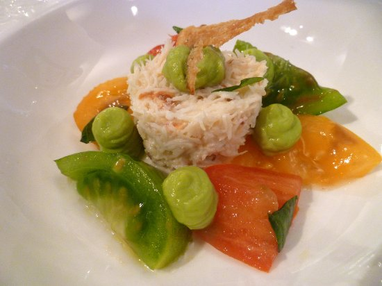 Fresh Irish crabmeat with heirloom tomatoes and avocado puree