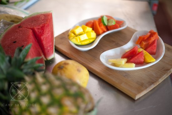 Local fruits and vegetables, and fresh caught seafood is the main fare at the Camp Bay Lodge.