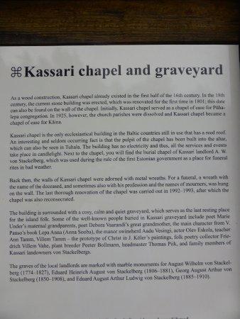 Kaina, إستونيا: Info over Kassari Kapel en begraafplaats
