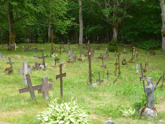 Kaina, เอสโตเนีย: Ijzeren kruizen op begraafplaat Kassari Kapel