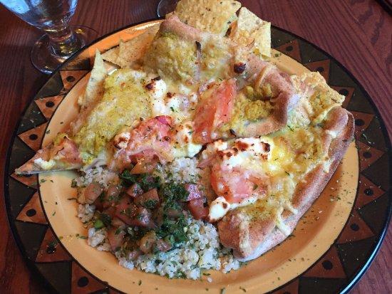 Calactus Restaurant: Moustafa Melt (feta, tomato, onion and hummus) with quinoa tabbouleh