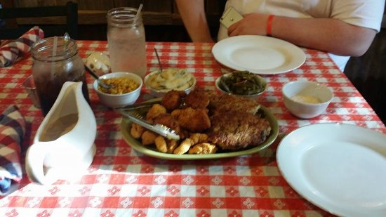Cameron, TX: the food! you pick two entrees: we picked fried catfish and chicken fried steak.