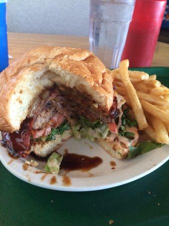 Pilot Butte Drive In: Hawaiian Cheeseburger with fries