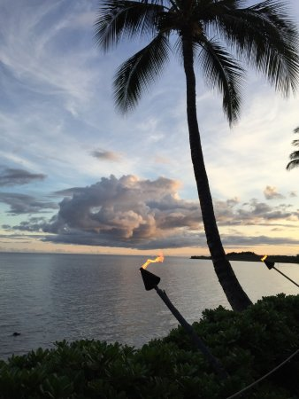 Evening view from the Hale Kealoha Restaurant at Hotel Molokai.
