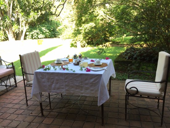 Thyolo, Malawi: We had our breakfast right outside of our room. Feeling like we lived in a fairy tale.