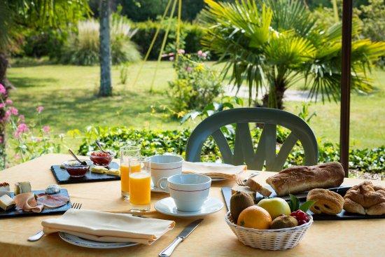 Le Grand Chêne de Sillans : Petit déjeuner en terrasse