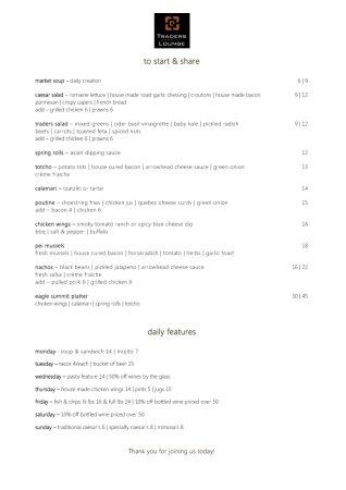 Traders Lounge: Dinner Menu 2016