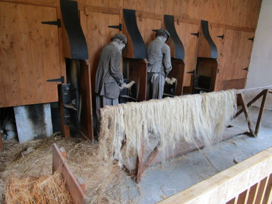 Dangerous work making linen fiber - Picture of Newmills Corn and