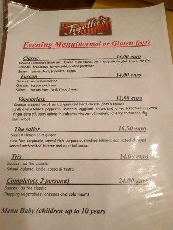 English language menu