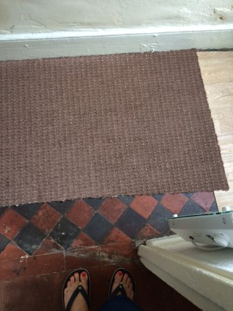 Tanygrisiau, UK: 'Carpet' in hall. Yes that black stuff is FILTH