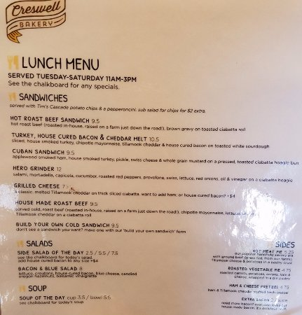 Crewswell bakery lunch menu picture of creswell bakery creswell creswell bakery crewswell bakery lunch menu thecheapjerseys Images
