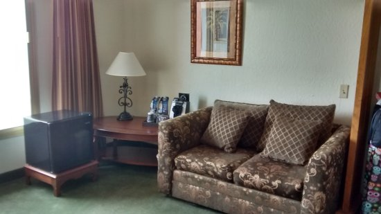 El Cortez Hotel & Casino: Water, coffee pot and Frig. With sofa and chair to relax in.