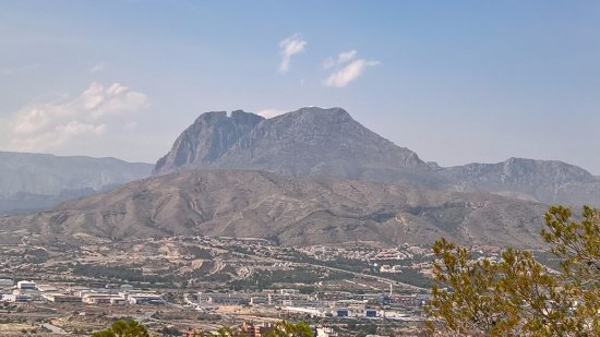 Cala Finestrat Beach: The Puig Campana Mountain 4613ft. Looking from The Watchtower of Agulio