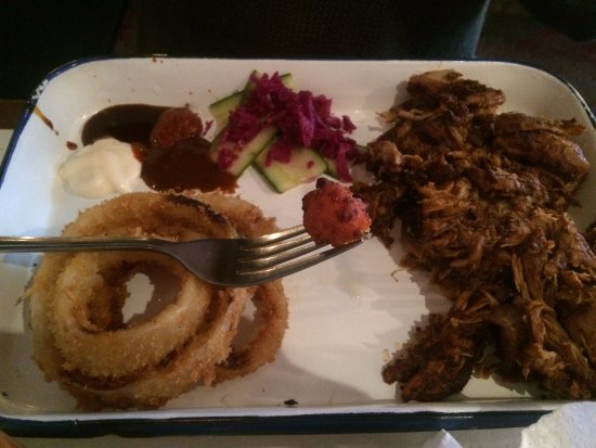 Pulled pork and onion rings