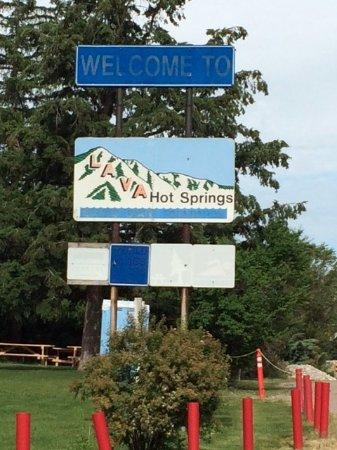 Riverside Hot Springs Inn: One sign entering community...