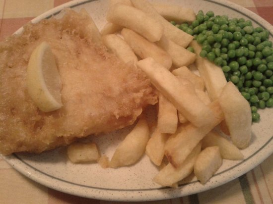 The Traditional Plaice: cod and chips and peas