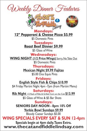 The Cat & The Fiddle Lindsay: Daily Specials