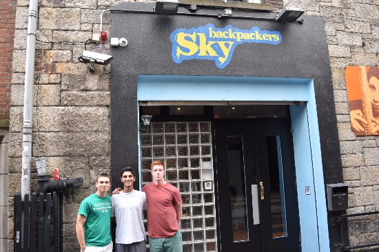 Sky Backpackers: Three of my friends outside the hostel.