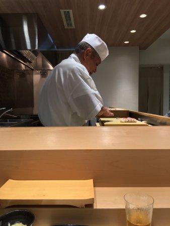 Sushi Bar Yasuda: where we were sitting at, view of Chef Yasuda