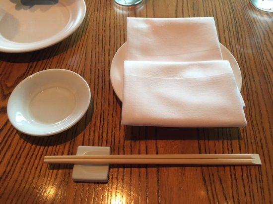 U Intercontinental Hong Kong Table Setting Yes They Use Disposable Chopsticks