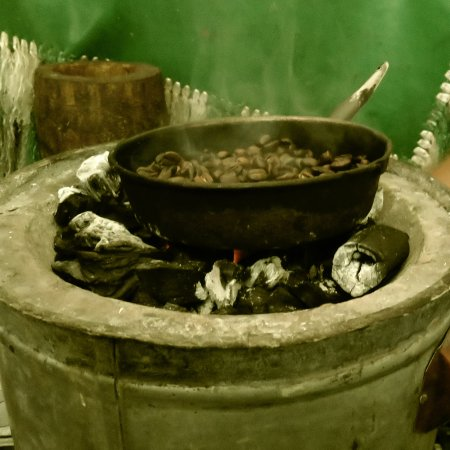 Simien Mountain Trekking and Tours: roasting coffee beans for the coffee ceremony