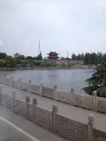 Jingzhou, China: View of city wall and tower from outside