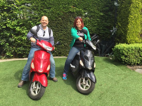 Landsmeer, The Netherlands: Getting ready to head out on our scooters!