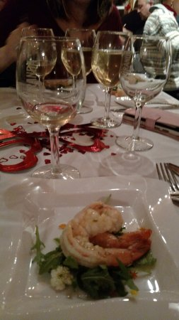 Miranda Vineyard: shrimp with white chocolate lemon sauce