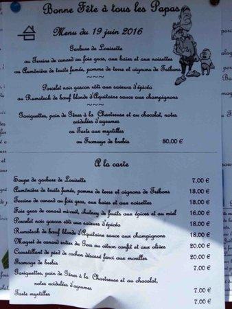 Chez Louisette : Menu ou carte