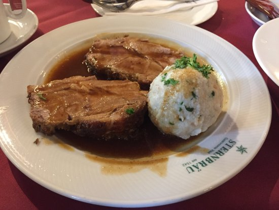 delicious traditional austrian food roast pork and bread