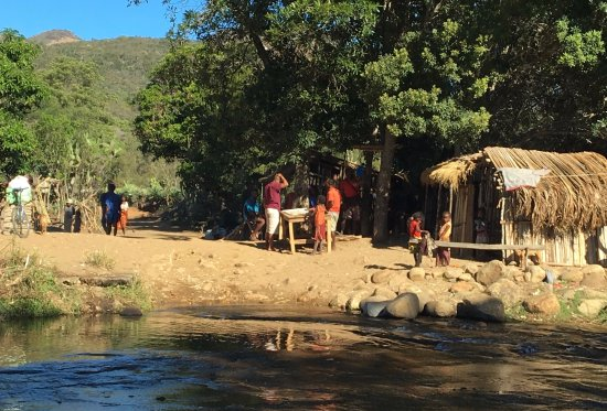 Fort Dauphin, Madagascar: village by the entrance
