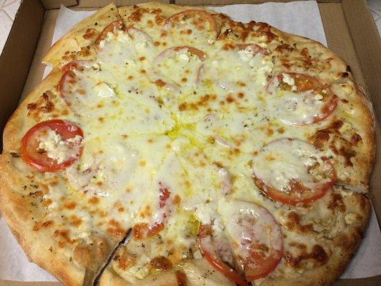Mona's Italian Restaurant: White Pizza with Garlic and Feta Cheese