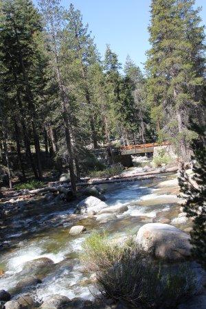 Three Rivers, Californië: view along Tokopah Falls Trail; bridge from campground to trailhead