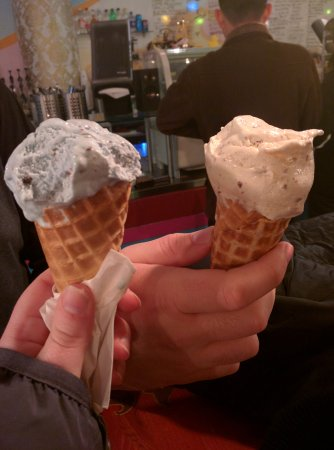 Eldur and Is: The blue ice cream is actually mint chocolate chip.