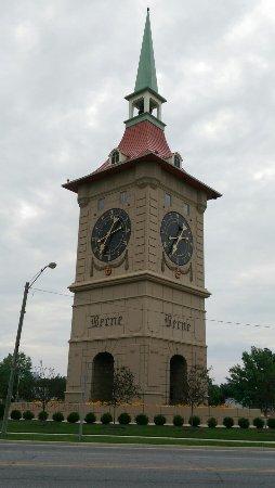 Berne, IN: Muensterberg Plaza and Clock Tower