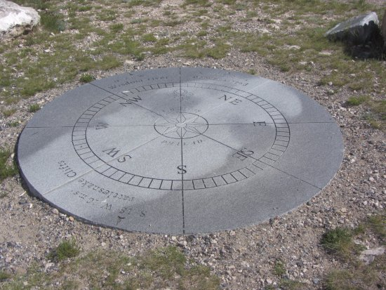 Dillon, MT: Three readings Clark took, replica of his compass