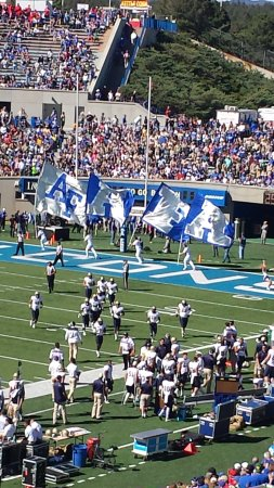 United States Air Force Academy: the traditional running of the flags after a touchdown