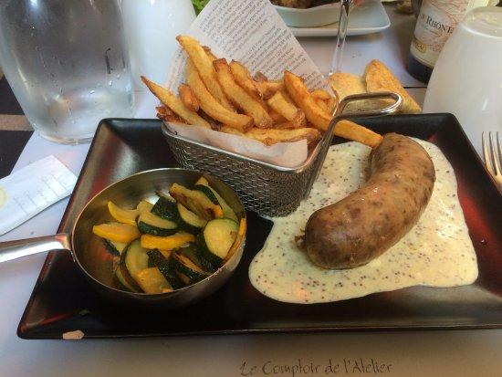 Andouillette sauce moutarde picture of le comptoir de l 39 atelier lyon tripadvisor - Le comptoir des fees lyon ...