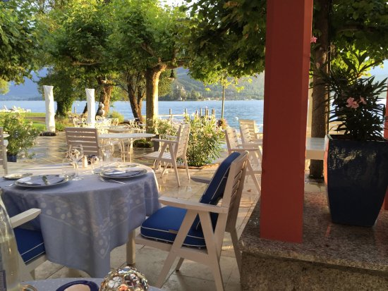 Auberge Du Pere Bise: August 2015 in my favorite table to drink Champagne Frambois and watch the sunset