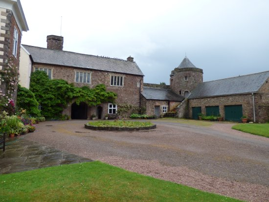 View of Courtyard of Tiverton Castle. with one of the original towers